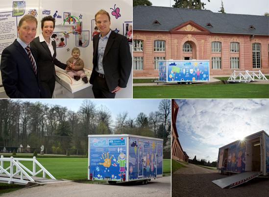Präsentation des neuen Tork Kinder Toilettenwagens im Schlossgarten Schwetzingen